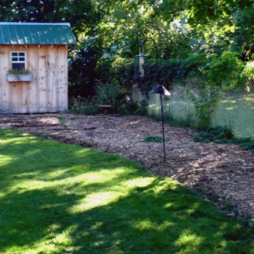 Made it! The mulch extends all the way to the shed by the end of Summer 2010.